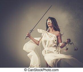épée, justice, déesse, balances, femida