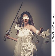 épée, justice, porter, déesse, balances, femida, bandeausur les yeux