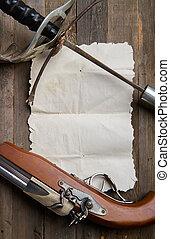 épée, rouleau, pistolet
