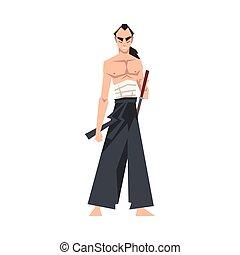 épée, vecteur, japonaise, porter, tenue, illustration, ...