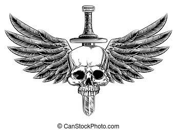 épée, woodcut, ailé, crâne, insigne