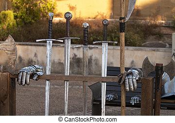 épées, moyen-âge, détail