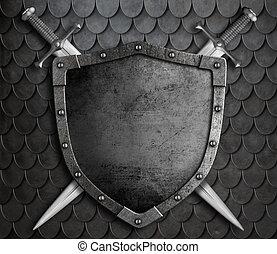 épées, sur, traversé, fond, moyen-âge, bouclier, balances, deux, armure