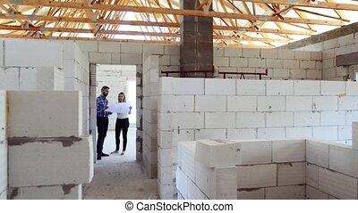 építész, és, építőmérnök, -ban, a, szerkesztés, házhely.