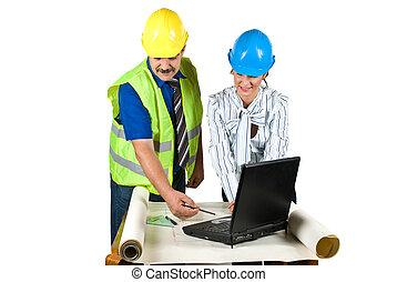 építész, hivatal, laptop, alaprajzok, dolgozó