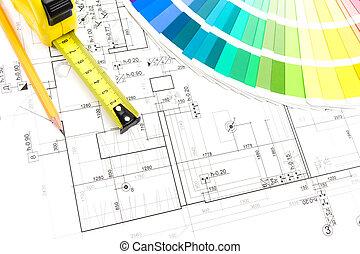 építész, munka, eszközök