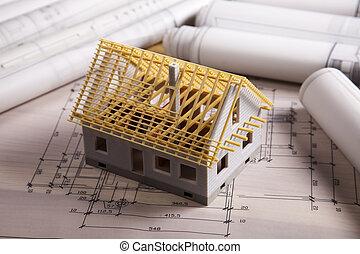 építészet ábra, és, otthon