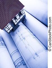 építészet ábra, &, otthon