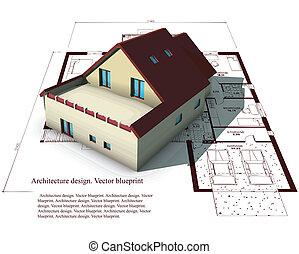 építészet, formál, épület, on tető of, tervrajz