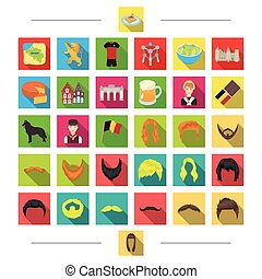 építészet, franciaország, fodrász, és, más, háló, ikon, alatt, karikatúra, style., élelmiszer, kezel, idegenforgalom, ikonok, alatt, állhatatos, collection.