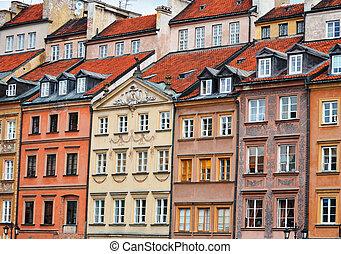 építészet, közül, öreg város, alatt, warsaw, lengyelország