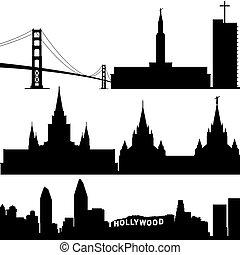 építészet, közül, kalifornia