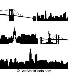 építészet, közül, new york