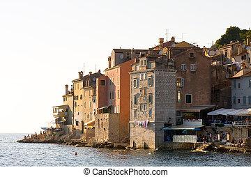 építészet, közül, rovinj, croatia., istria, touristic,...
