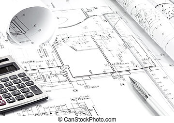 építészet, rajz, és, műszerek
