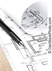 építészet, rajzol, és, műszerek