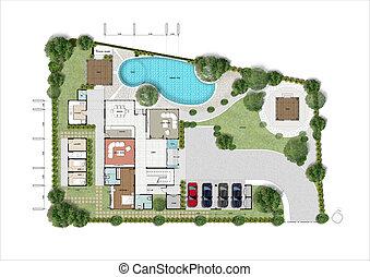 építészeti, épület ábra