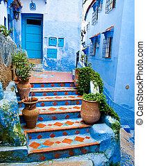 építészeti, chefchaouen, kapualjak, részletek, marokkó
