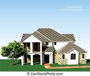 építészeti, sky., fa, vektor, háttér, fű