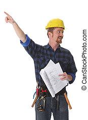 építészeti, szerkesztés munkás, alaprajzok, hegyezés