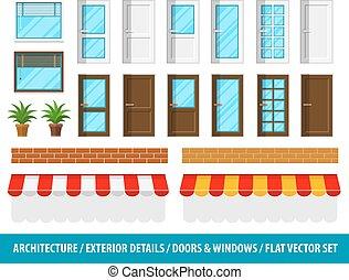 építészeti, windows, épület részletes, külső, ajtók