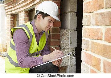 építészmérnök, átvizsgálás, szigetelés, közben, épület szerkesztés