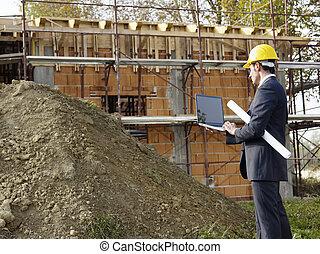 építészmérnök, alatt, szerkesztés hely