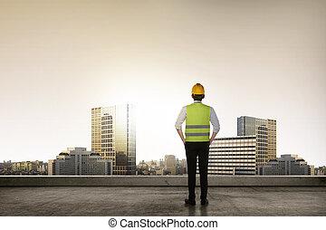 építészmérnök, fiatal, succesful, ázsiai