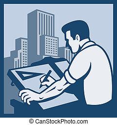 építészmérnök, fogalmazó, rajz, épületek, retro