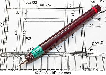 építészmérnök, hengermű, és, alaprajzok