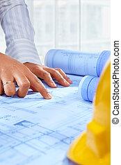 építészmérnök, kéz, munka on, aktagyártás