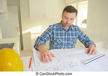 építészmérnök, külső at, terv, alatt, szerkesztés hely