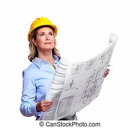 építészmérnök, nő, noha, egy, plan.