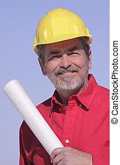 építészmérnök, nehéz kalap, szállító