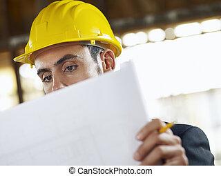 építészmérnök, noha, tervrajz, alatt, szerkesztés hely