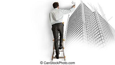 építészmérnök, rajz, egy, terv