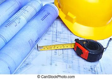 építészmérnök, tervezés, kiírás, és, biztonság sisak