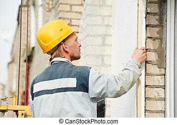 építő, épülethomlokzat, kőműves, munkás