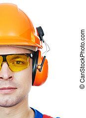 építő, alatt, nehéz kalap, fülvédő, és, védőszemüveg