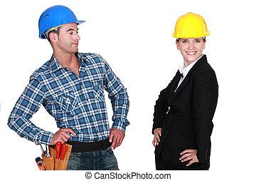 építő, büszke, építészmérnök