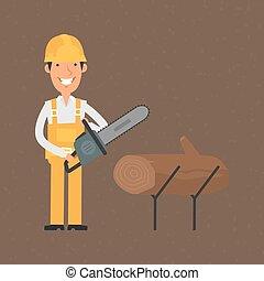 építő, chainsaw, birtok, mosolygós