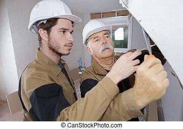 építő, munka, előbb, plasterering