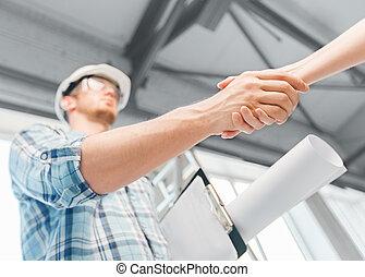 építő, noha, tervrajz, remegő, partner, kéz