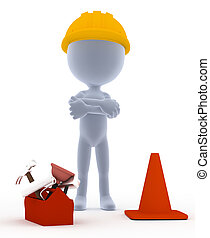 építő, toon, munkás, noha, eszközök