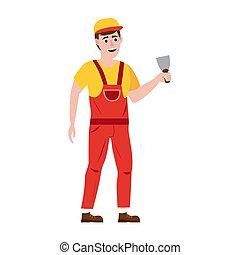 építőipar, spatula., dolgozó, ábra, isolated., vektor, rendbehozás, profi, belső, új, szerkesztés, otthon, ember