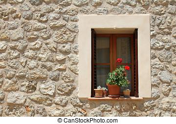 építőkő, virág, fal, cserépáru, ablak