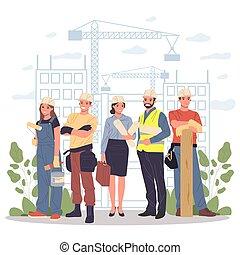 építők, építészmérnök, brigádvezető, konstruál