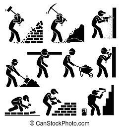 építők, constructors, munkás