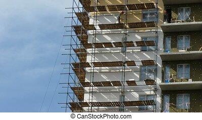 építők, festék, a, many-storeyed, house., idő, lapse.