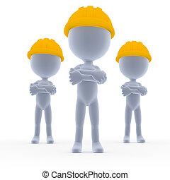 építők, toon, munkás, befog